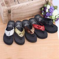 Summer Women Wedge Sandals Sequin Thong Flip Flops Platform Casual Slippers a4