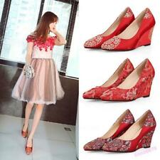 Chinese Style Women's Wedding Shoes Wedge Heel Slip On Pumps Embroidery Fit Girl