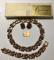 Vintage Renoir Copper Necklace Bracelet Earrings Set Parure MCM Original Label