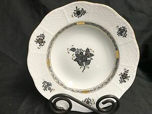 """Herend """"CHINESE BOUQUET"""" Black ~ Hand Painted Hungary ~ Soup Bowl ~ 8 1/4"""""""
