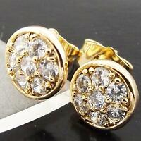 STUD EARRINGS GENUINE REAL 18K YELLOW G/F GOLD ANTIQUE DIAMOND SIMULATED DESIGN