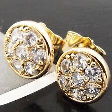 FSA004 GENUINE REAL 18K YELLOW G/F GOLD SOLID DIAMOND SIMULATED STUD EARRINGS