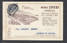 ITALY 1922 ZIVERI OLIVE OIL ADVERTISING POSTAL CARD ONEGLIA TO ROVIGO