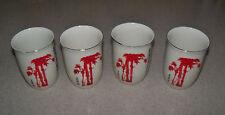 Vintage Set of 4 Tea Sake Oriental Asian Porcelain Ceramic Cups  4 oz Red Tree
