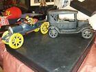 Vintage Cast Iron Ford Model T Sedan Toy Car JM 135 plus cast iron racer