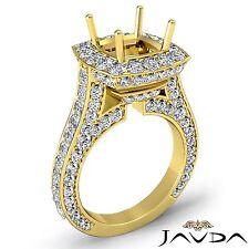 Cushion Diamond Engagement Ring 14k Yellow Gold Halo Pave Set 2.1Ct Semi Mount