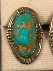 Rare Vintage Earrings with Natural Turquoise on Silver Stud