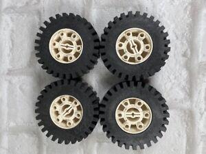 Lego Vintage Large White and Black Wheels 24x43 set of 4