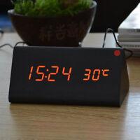 Controllo elettronico del suono della sveglia a LED digitale in legno
