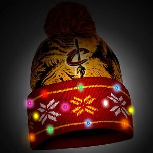 Cleveland Cavaliers Big Logo Light Up Beanie Winter Hat Cuffed Pom & Scarf Set