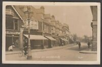 Postcard Weybridge near Chertsey Surrey shops in High Street early RP