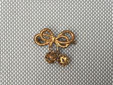 Ancienne broche noeud papillon métal doré art pop  french antique jewel