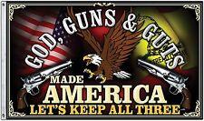 God, Guns & Guts 3X5' FLAG 2nd Amendment Gun Rights 2 Metal Grommets New