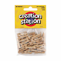 Mini Wooden Clothes Pegs Natural Pack of 50 CS3700