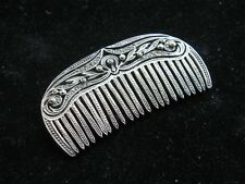 Vintage Sterling Silver Comb Brooch Pin with Marcasites - 1980's, never worn