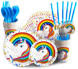 Unicorn Happy Birthday Party Tableware Decoration Table Cover Plates Cups Banner