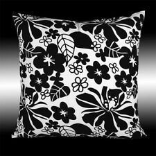 NEW ABSTRACT COTTON WHITE BLACK FLORAL DECO THROW PILLOW CASE CUSHION COVER 17""
