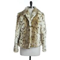 Timeless NEW Womens S Ivory/Brown Combo Animal Faux Fur Hook & Eye Fully Lined