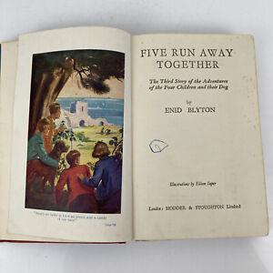 Enid Blyton Famous Five Run Away Together 1955 Vintage Red Illustrated Hardback