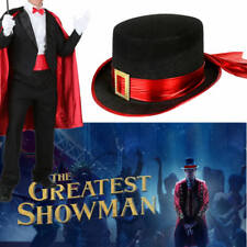 Black Red Top Hat Circus Ringmaster Costume Magician Showman Zorro Dickens Stage