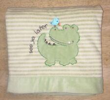Carters Alligator Green Baby Blanket Plush Edge See Ya Later Blue Bird Striped