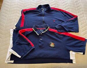 Men's Ralph Lauren Polo Size 3XLT XL Tall Half Zip Sweater Polo Set Navy Blue