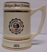 Vtg 1973 MICHIGAN STATE SPARTANS NCAA BASKETBALL FOOTBALL BEER STEIN MICHELLE