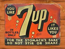 "TIN-UPS TIN SIGN ""7-up Likes You"" SODA ORANGE STOMACH Wall Decor"