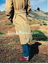 PUBLICITE ADVERTISING 074  1988  POLO RALPH LAUREN collection manteaux homme