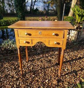 Antique Welsh Georgian Oak Lowboy Side Table