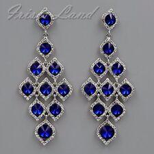Rhodium Plated Blue Crystal Rhinestone Chandelier Drop Dangle Earrings 08547 New