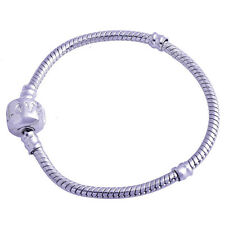 Love Silver Filled Snake chain european Charms Beads Bracelet