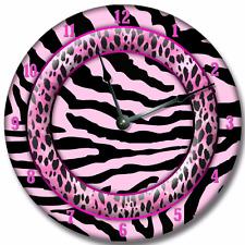 Wall Clock PINK ZEBRA Nursery Art Baby Toddler Girl Custom Room Decor