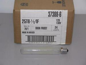 "(Case of 24) Philips 25T6-1/2/IF Frosted Tubular Bulb 120-130V, 25W, 1/2""x5-1/2"""