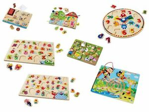 Wooden Learning Puzzles Game Magnetic Labyrind Threading Stamp Number ABC Lette