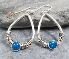 925 Silver Blue FIRE OPAL Bali Design Earrings E049~Silverwave*uk Jewellery