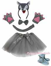 3D Gray Wolf Headband Bow Tail Paw Shoes Skirt 6p Kid Child School Party Costume