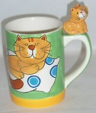 Hand Painted 3D CAT Handle Coffee Mug Indra Fine Stoneware