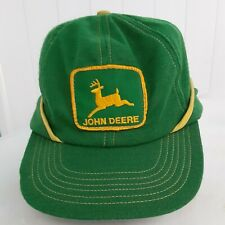 John Deere Hat With Ear Flaps Vintage Green With Yellow Trim Made In The U.S.A.
