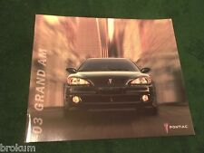 MINT 2003 PONTIAC GRAND AM SE GT ORIGINAL SALES BROCHURE ORIGINAL (BOX 598)