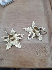 More details for antique brass candle holders christmas holly design with red berries