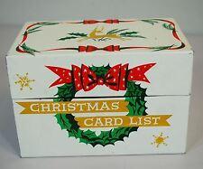 Vintage Christmas Card List Metal/Tin Box - Index Card -Stylecraft 1950s No. 807