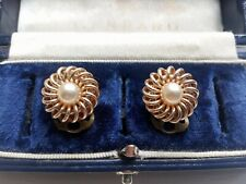 VINTAGE 1940-50s ELEGANT SIMULATED PEARL SWIRL DESIGN GOLD TONE CLIP ON EARRINGS