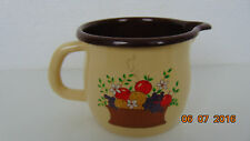 Vintage Metal Enamelware Pitcher FTDA Jug Cup Mug Brown & Beige Collectors Item