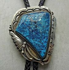 NAVAJO Sterling Silver GOLD CANYON TURQUOISE BOLO Tie Leather Cord Sterling Tips