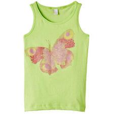 Esprit Girls Green Vest T-Shirt Sleeveless Top Glitter Butterfly Print 6-7yrs