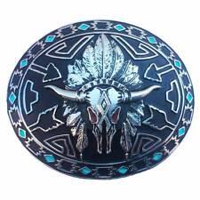 Boucle de ceinture  ref: tête de vache motif aztèque western country homme/femme