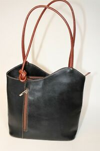 Handcrafted Italy Boutique Made Womens Leather Backpack Daypack Satchel Bag
