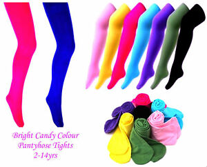 Girls, Baby Childs Tights Pantyhose 16 Colors 3 Sizes Age 2-11 UK