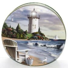 NEW Alan Giana THE PERFECT PLACE Beach Chair Shells Lighthouse Tin Box Container